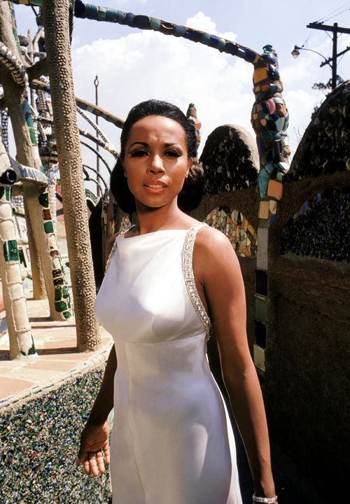 Diahann Carroll at the Watts Towers in Los Angeles in 1967, photographed by Martin Mills