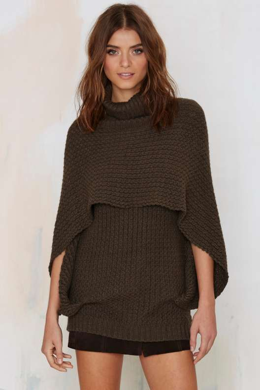 Nasty Gal So Over It Layered Cape Sweater