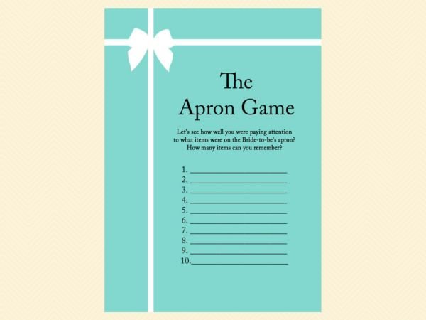 apron game, advice for bride card, tiffany blue, tiffany bridal shower games, breakfast at tiffanys bridal shower, tiffany blue bridal shower game pack, printable