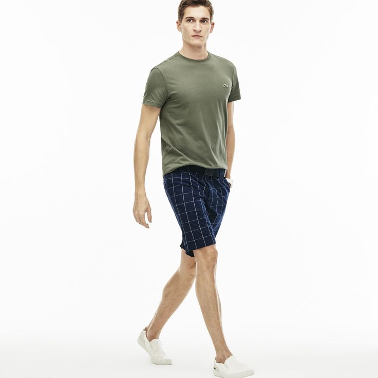 LACOSTE Men's Slim Fit Net Print Cotton Twill Bermuda Shorts - NAVY BLUE/WHITE. #lacoste #cloth #