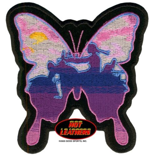 """Embroidered Iron On Patch - Butterfly Lady Rider 4"""" x 4"""" Patch Good Sports http://www.amazon.com/dp/B009QM5Y18/ref=cm_sw_r_pi_dp_yWd-vb1P37W7R"""