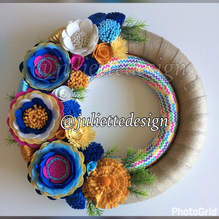 Spring and Summer Wreath, Spring Wreath, Felt Wreath, Spring Felt Wreath, Colorfull Spring Wreath, Double Wrapped Fabric Wreath by juliettesdesigntr on Etsy https://www.etsy.com/listing/516253755/spring-and-summer-wreath-spring-wreath