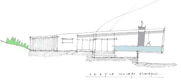 Initial sketch of elevation. Our client asked us to develop concepts for a new home on a spectacular site overlooking the rolling green hills surrounding their property. Their brief was for something open, airy, light, single-storey and contemporary... that capitalised on the wonderful view.