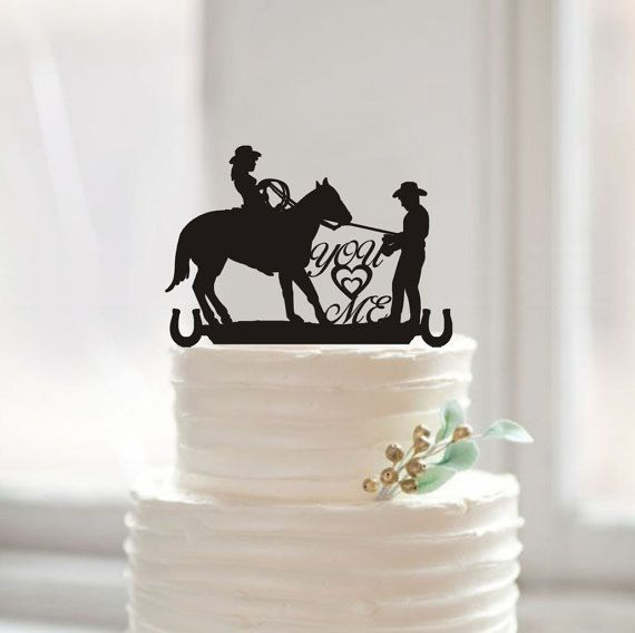 Rustic Wedding Silhouette Cake Topper-You & Me Cake Topper-Bride and Groom Cake Topper with Hourse-Country Western Cake Topper-Wedding Decor