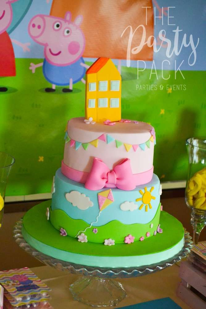 Peppa Pig Birthday Party Ideas Photo 4 Of 35 Peppa Pig Birthday Cake Pig Birthday Cakes Peppa Pig Birthday Party