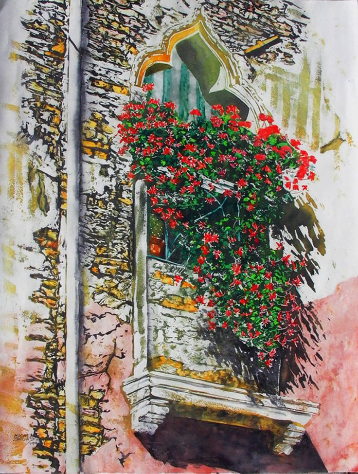 """flowering balcony (2) vertical garden series  venice 30"""" x 22"""" micheal zarowsky / watercolour on arches paper / available $2100.00"""