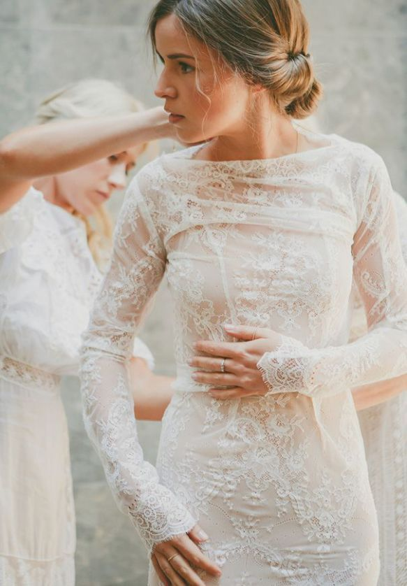 Long sleeve wedding dress inspiration SheerEverAfter.wo…