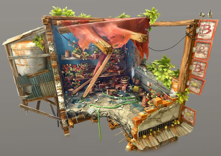 My first personal project! Stylised market diorama. - Polycount Forum