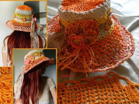Crocheted summer hat romantic women fashion holidays