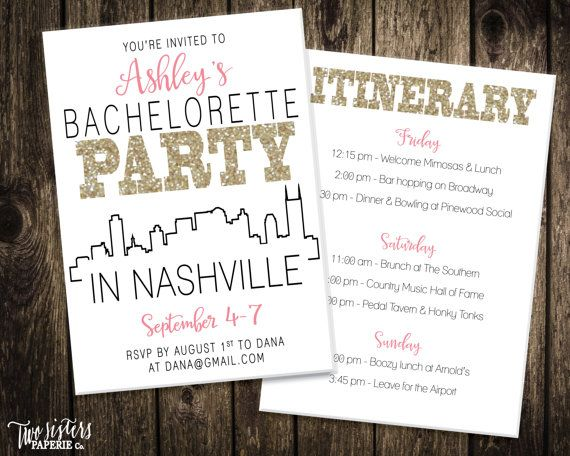 Nashville Bachelorette Party Invitation and by TwoSistersPaperieCo