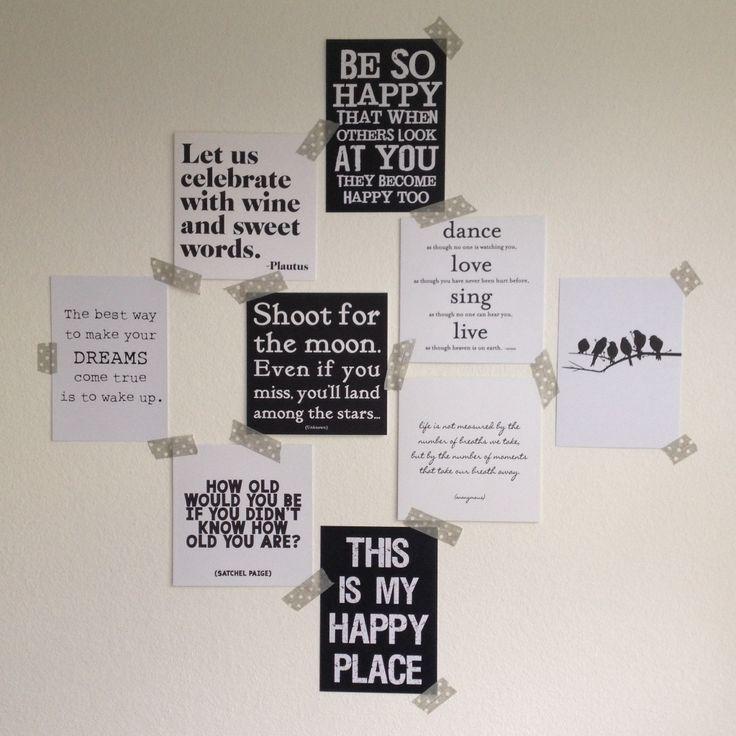 Diy kaarten met mooie teksten bij elkaar tegen de wand als decoratie met of zonder washi - Grijze muur deco ...