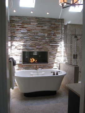 Tub Amp Fireplace With Images Rustic Master Bathroom