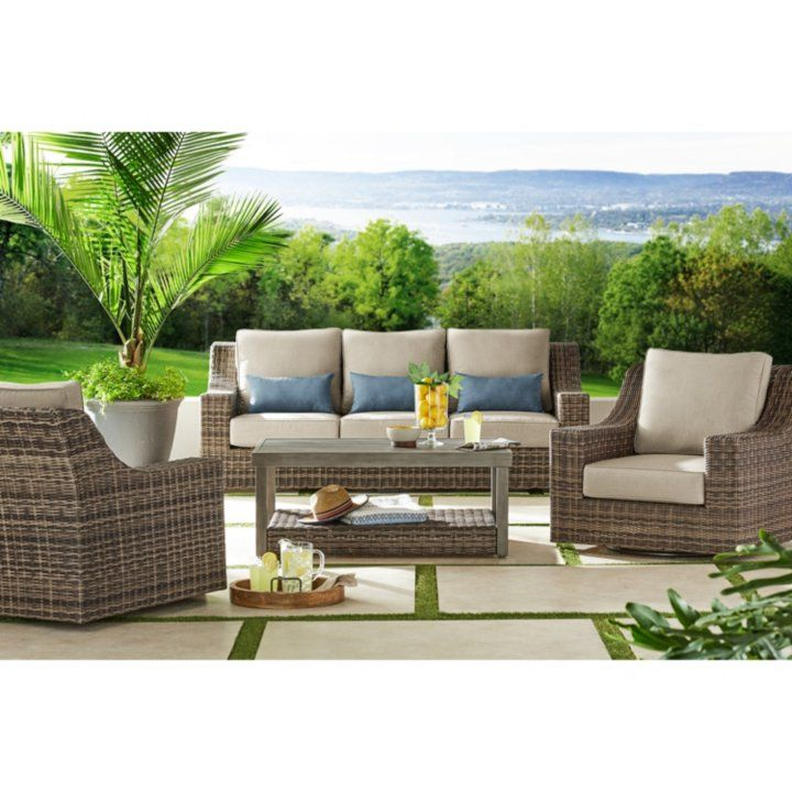 Member S Mark Nantucket 4 Piece Deep Seating Set Brown Sam S Club Outdoor Furniture Sofa Outdoor Furniture Sets Deep Seating