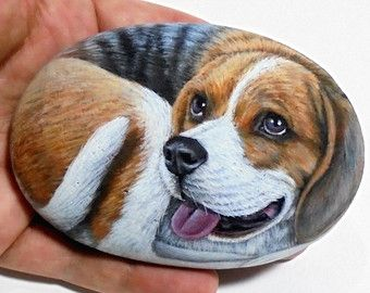 Pretty tiger grey & black cat hand painted on flat stone