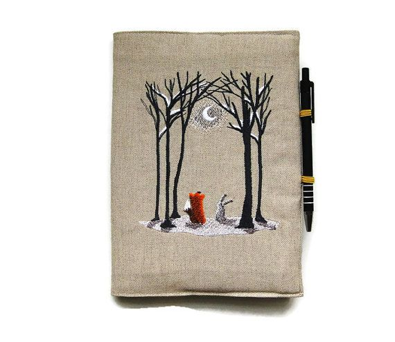 NEW I have some 2017, week to view, luxury diaries in stock so you can now choose either the original A5 notebook and pen or a diary for the New Year with a pen. Please make your selection from the drop down menu.  A5 notebook and pen, fox notebook, gift set, fox 2017 diary, embroidered linen Winter woodland scene fox and rabbit, reusable cover.  Embroidered notebook cover sewn in a beige linen and lined in an apple green cotton. I have also embroidered a little fox on one of the inside…
