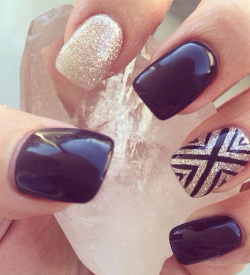 Black gel nails, gold gel nails, nail designs. Square shellac black and gold gel…