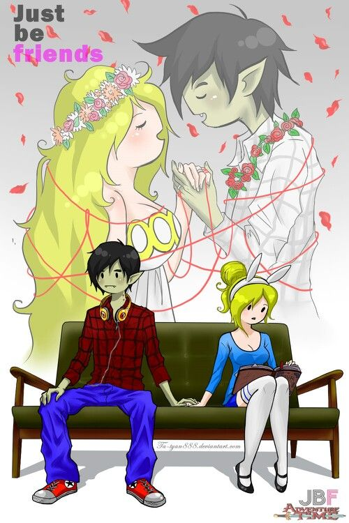adventure time marshal lee and fiona... wow thats cute,it reminds the song just be friends