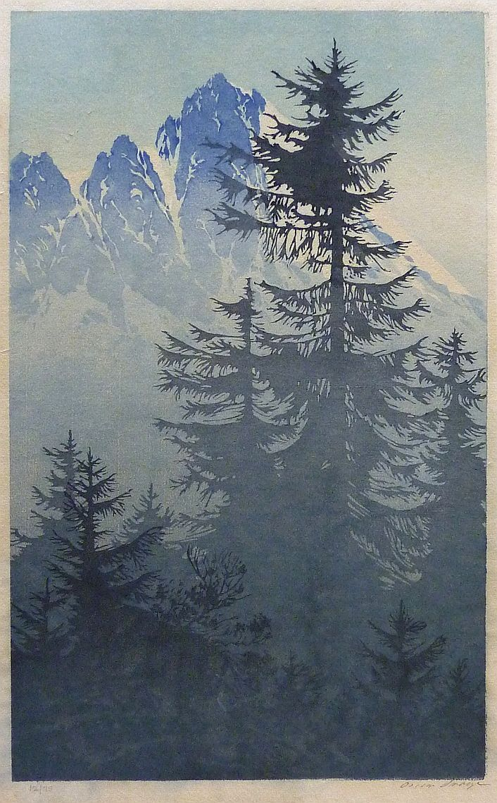 ✨ Oscar Droege - Mountain Conifers, Colour woodblock, signed lower right in pencil and numbered 12 of 75, block size 241x397mm