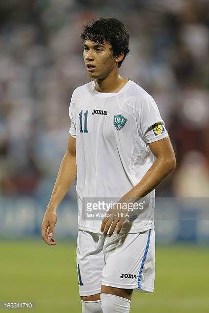 Akobir Turaev of Uzbekistan during the Group C FIFA U17 World Cup match between Uzbekistan and Morocco at Fujairah Stadium on October 21 2013 in...