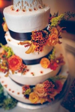 Vintage cake topper on contemporary Orange and Brown Fall Wedding Cake - just showing you the combination CAN be done