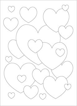 Hearts Valentines Coloring Page