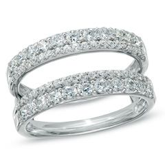 1 CT. T.W. Diamond Double Row Solitaire Enhancer in 14K White Gold - Jewelry Rings - Gordon's Jewelers