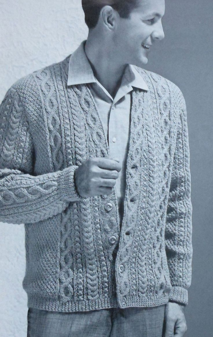 Free Mens Cable Knit Sweater Patterns : Vintage Mens Aran Style Cardigan Sweater Knitting Pattern retro 1960s ...