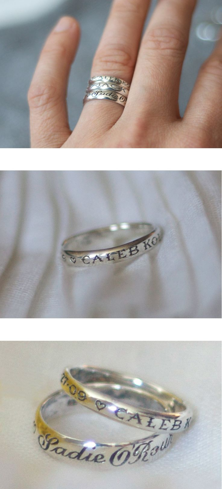 Child's name and date of birth on the ring. Beautiful. Such a great idea!!