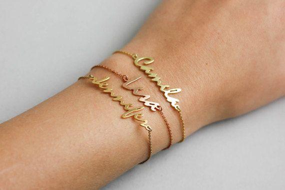 Mommy Bracelet, Script Gold Bracelet, Rose Gold Name Bracelet, Personalized Bracelet, Custom Name Jewelry, Script Gold Bracelet, SB0181
