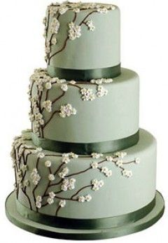Cake Stories - Springtime in Kyoto. Green wedding cake with delicate cherry blossoms.