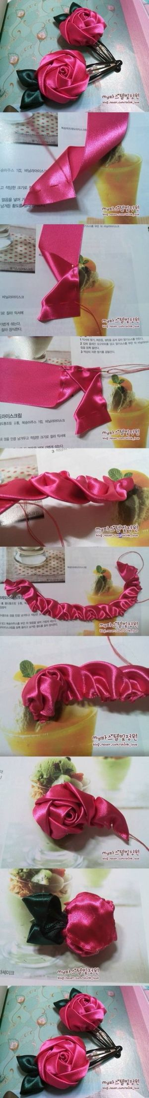 Pretty Ribbon Rose...if I can make sense of this picture-only tutorial