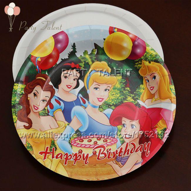 Ну вечеринку поставляет 20 шт. девушки детей три принцесса тема ну вечеринку украшения одноразовая посуда бумажная тарелка с пищевая пленка
