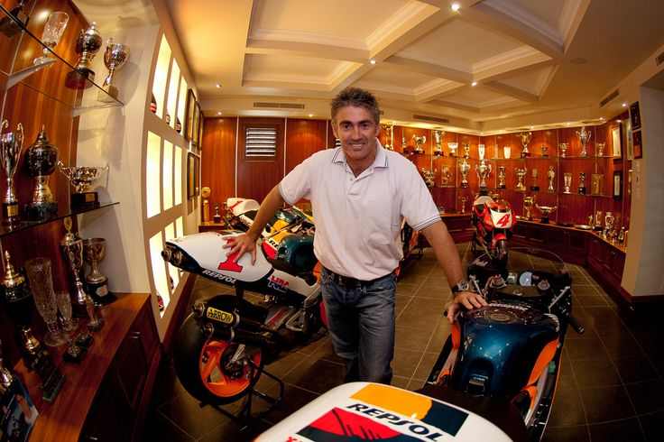 The ultimate trophy room at Mick Doohan's home. Mick Doohan must have had a very special clause in his contracts with Honda. They gave him his title winning motorcycles (Honda NSR500 from 1994, 1995,...