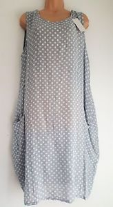 New-Lagenlook-Cotton-Mix-Grey-Spotty-Summer-Dress-uk-16-18-20-22