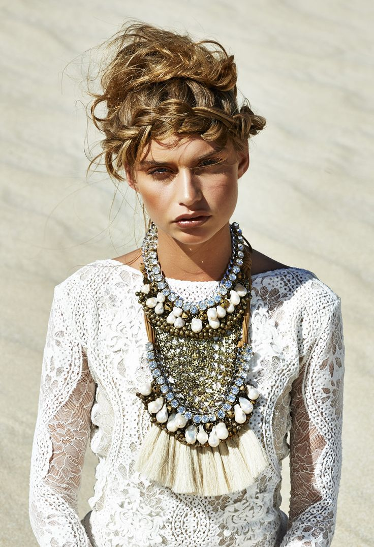 WOW. now THAT is a statement necklace!!! gorgeous fringe / metal / silk tassel / diamond / crystal / embellished statement bib necklace paired with Inca wedding dress by Grace Loves Lace   long-sleeved lace wedding gown
