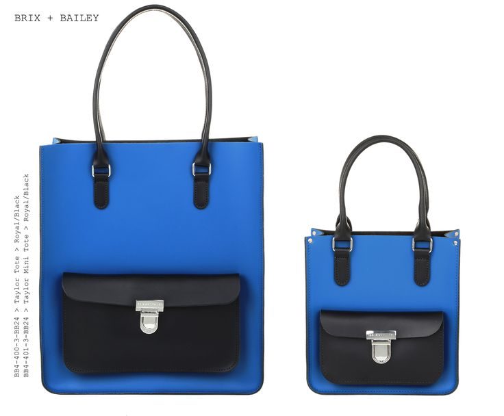 Brix + Bailey Large + Mini Taylor Leather Totes - Royal/Black - Made in England - www.brixbailey.com