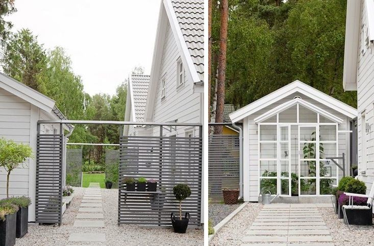 5 Favorites: Modern Wooden Gates - slatted privacy screen with shelves for back patio?