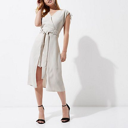 Petite Grey Tie Belt Sleeveless Midi Dress | Drawstring elasticated  shoulder detail, mini length with