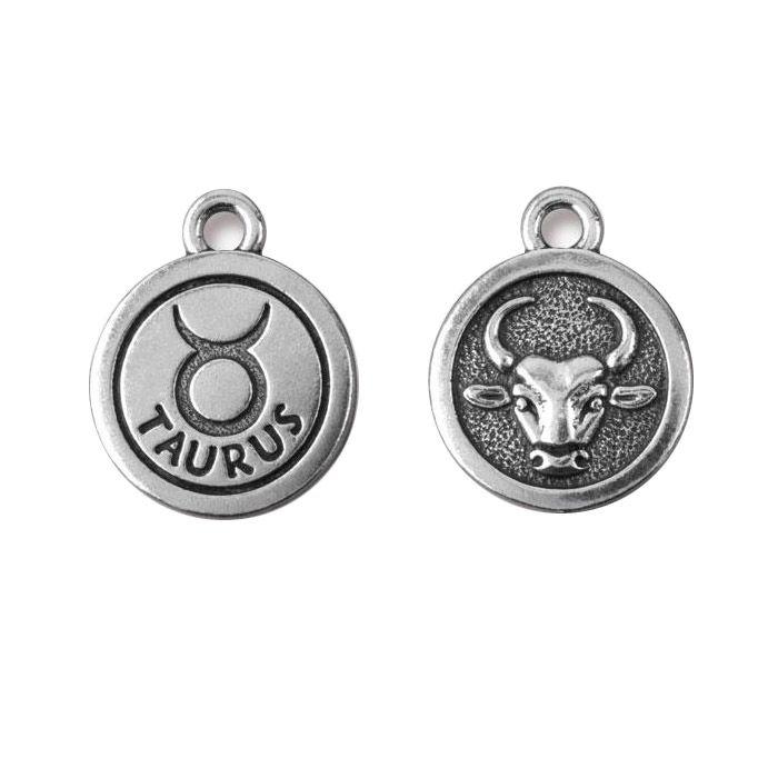 Taurus Charm Antique Silver