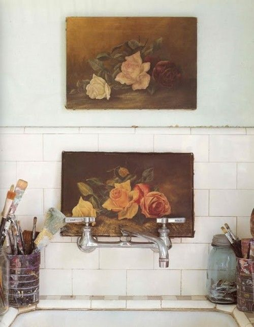 flower paintings above the sink.: Idea, Kitchen Sink, Interiors, Rose Paintings, Art, Sinks, Bathroom, Space, Vintage Rose