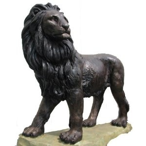 Metropolitan Galleries SRB30356 Lion on Base Bronze. Metropolitan Galleries specializes in the production of architectural and decorative hand carved marble statuary Lost Wax Cast bronze statuary and ornamental wrought iron pieces. Our specialties include medium and large scale statues fountains urns animals pedestals table bases gazebos entryways and more.This lion is standing tall on his base looking out into the rising sun. He may be strong and powerful#44; but that doesnapos;t mean he…