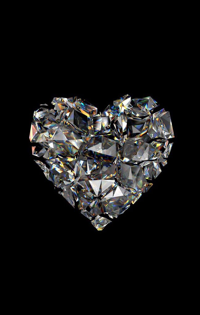 Glass Heart Made From Crystals Art