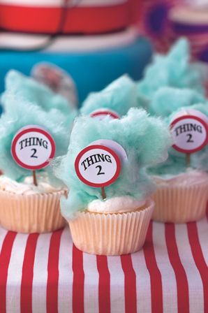 Cat in the Hat party: Blue candy floss atop vanilla cupcakes replicates Thing 1 and Thing 2′s crazy hairdos, and the kids will love it.