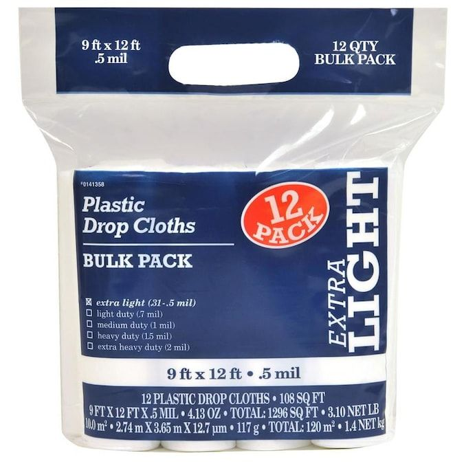 12 Pack Plastic 9 Ft X 12 Ft Drop Cloth Lowes Com In 2020 Plastic Drop Cloth Drop Cloth Clean Laminate