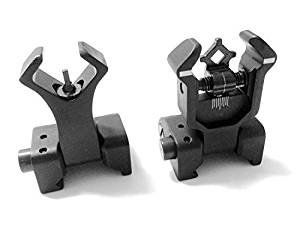 AAO Ar Tactical Flip up Front and Rear Iron Sights Set for Picatinny Rails - tacticaltanner