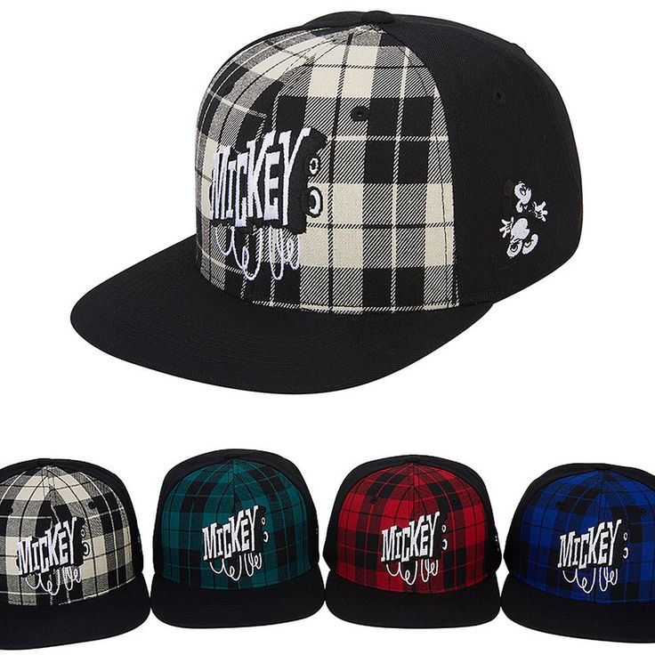 New Mens Womens Authentic Disney Mickey Mouse Check Patterned Snapback Caps Hats #hellobincom #BaseballCapHats