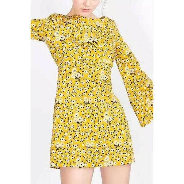 Yoins Retro Print Open Back Mini Dress in Yellow ($29) ❤ liked on Polyvore featuring dresses, yellow long sleeve dress, long sleeve short dress, fit and flare mini dress, mini dress and long-sleeve fit and flare dresses