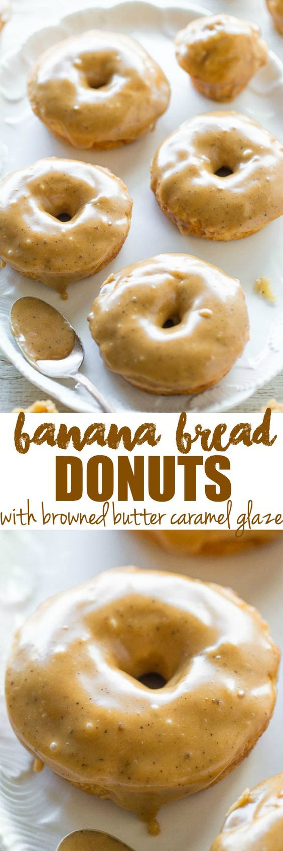 Banana Bread Donuts with Browned Butter Caramel Glaze - Banana bread in the form of soft, fluffy baked donuts and donut holes!! No-mixer recipe that's as easy as making muffins! The glaze makes them IRRESISTIBLE!!: