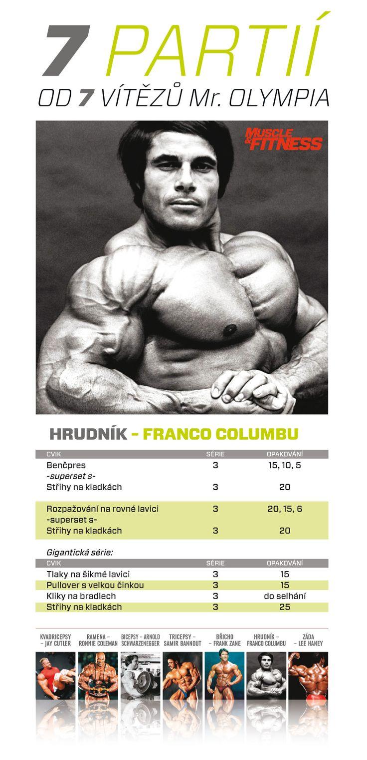 7 partií od 7 víťazov Mr. Olympia - hrudník podľa Franca Columbu.