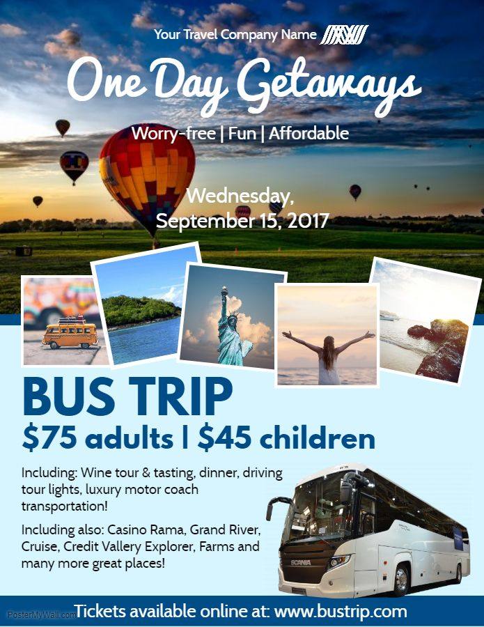 one day bus trip pamphlet flyer social media graphic design template